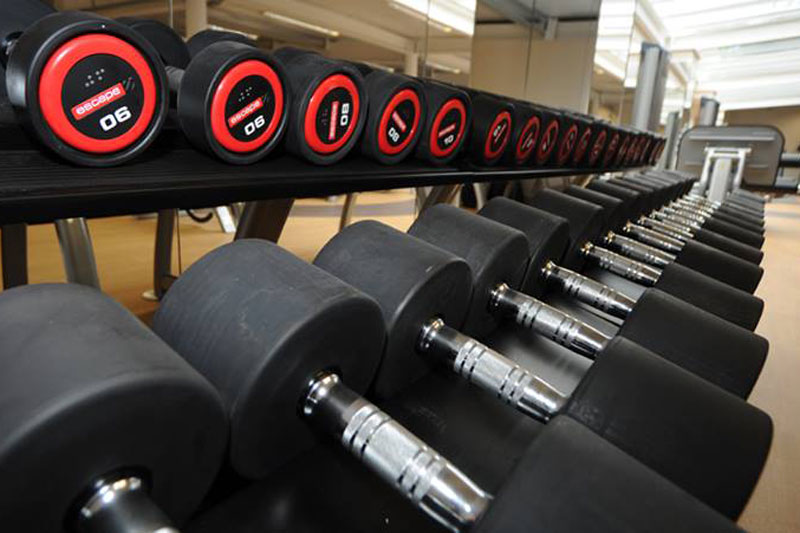 Free weights in the gym at The Cloisters Spa